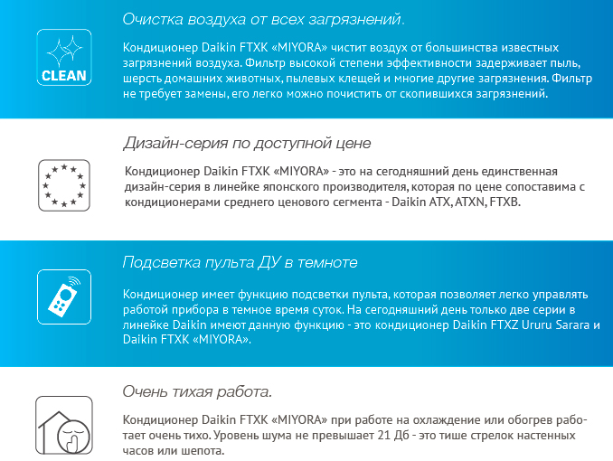 Преимущества - Daikin FTXK25AW / RXK25A