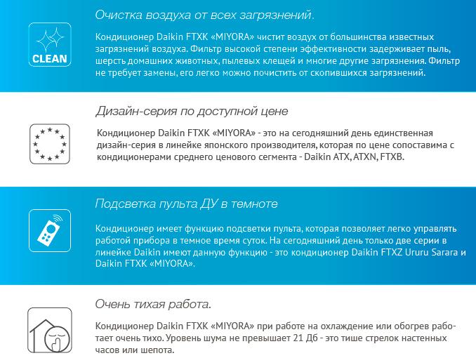 Преимущества - Daikin FTXK25AS / RXK25A